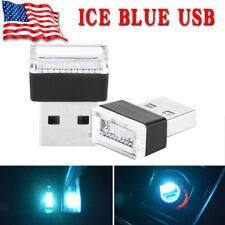 Mini USB Ice Blue LED Car Interior Light Bulb Neon Atmosphere Ambient Lamp 2PCS