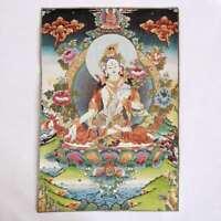 "36"" Tibet Tibetan Cloth Silk White Tara Guanyin Kwan-yin Tangka Thangka Mural"