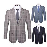 Mens Designer Vintage Tweed Jacket Style Check Herringbone Blazer Coat Casual