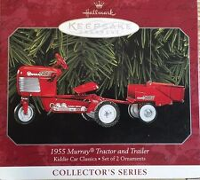 1955 Murray Tractor and Trailer 1998 Hallmark Set of 2 Ornaments QX6376