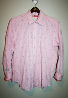 Mens Robert Graham Pink Button Down Dress Shirt Long Sleeve Embroidered XL