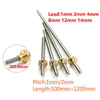 Size: 500mm Zamtac 2pcs Anet T8 8mm Lead rods Screw 300 400 450 500 600mm trapezoidal Lead Screws+Brass Copper Nuts for 3D Printer Part/&CNC