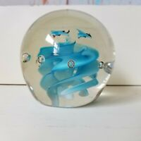 Vintage Art Glass Paperweight Clear Globe Controlled Bubble Blue Birds Swirl