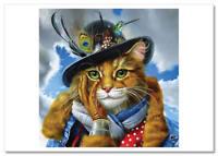 NEW! cute cat in a hat. Bird CATS Animals  Modern Postcard Russian