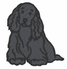 Cocker Spaniel Iron On Embroidered Patch Black