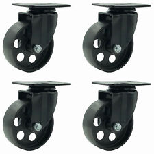 "4 All Black Metal Swivel Plate Caster Wheels Heavy Duty (3.5"" No brake)"