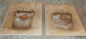 """Pair of country buckets of herbs & flowers art prints, 8"""" x 10"""", Diane Arthurs"""