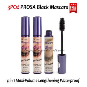 3 PCs Prosa Mascara 4 in 1 Maxi-Volume Lengthening, Waterproof Black Mascara