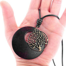 1pc Women Vintage Tree of Life Alloy Charm Wooden Pendant Black Cord Necklace