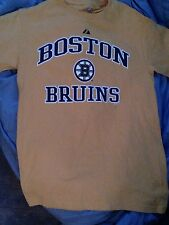 BOSTON BRUINS NHL HOCKEY MAJESTIC (OFFICIAL) YELLOW T SHIRT SMALL COTTON