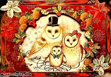 pUNCH sTUDIO Single(1) Die-Cut Dimensional Note Card - Owl Family Portrait