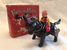 Vintage 1950's BUCKING BRONCO wind-up COWBOY toy w/ORIGINAL BOX -Works!