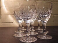 SET OF TEN Good Quality Crystal Cut Glass 10 SMALL WINE GLASSES