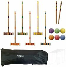 HARDWOOD OUTDOOR CROQUET SET DELUXE SPORTS WITH CARRYING BAG LAWN RECREATION