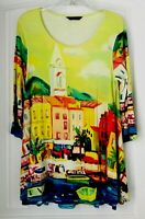 Multiples Womens Long Tunic  blouse  Top Soft Stretchy Shirt Colorful Modern Art