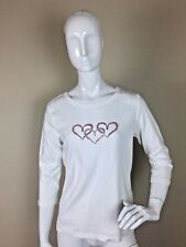 Talbots Women's White Scoop Neck Shirt Hearts Sequins Size Medium Long Sleeve