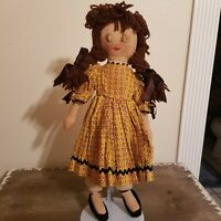 Vintage Handmade 17 Inch Plush Cloth Rag Doll With Embroidered Face & Yarn Hair