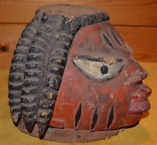 Very Old Antique Yoruba Tribe Made & Used Gelede Wood Helmet Mask Nigeria Africa