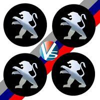 4 adhésifs stickers PEUGEOT noir chrome 40 à 100 MM pour centre de  jantes