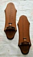"""2 Vintage Wood Wooden Sconce Candle Holders 15"""" x 5"""" Wall Primitive Rustic Décor"""