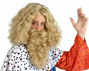 Hyfive Curly King Wig and Beard Fancy Dress Party Costume - Blonde