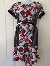 Peter Pilotto Red, White, and Blue Crepe Dress Size 12