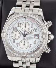 Mens Breitling Evolution Chronograph A13356 Factory Diamond Bezel 43mm