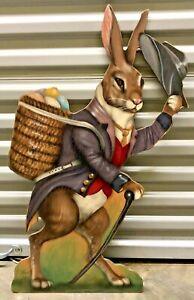 Vintage Bonnie Barrett Boardwalk Originals Painted Bunny Rabbit w/Basket Of Eggs