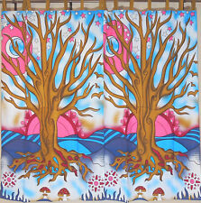 """Blue Pink Tree of Life 2 Tab Top Window Treatments Curtain Panels Cotton 82"""""""