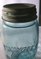ANTIQUE SWAYZEE'S IMPROVED MASON Quart Jar/Shoulder Seal/Ball Zinc Lid/100 yrs.+