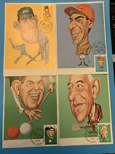 1981 AUSTRALIAN SPORTING PERSONALITIES - Caricature Maxi Card set of 4v + POP X1