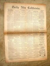 ANTIQUE SAN FRANCISCO NEWSPAPER DAILY ALTA CALIFORNIA MAMMY PLEASANT 1885