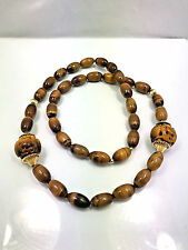 Vintage Chinese Tiger Eye Large Carved Beads & Beaded Necklace, 31""