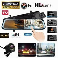 10'' FHD 1080P Car DVR Dual Dash Cam Rearview Mirror IR Touchscreen 32GB Motion