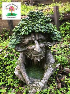 Solar Wisdom Tree Green Man Pagan lights up fairy house fairies garden decor