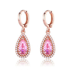 Christmas Gifts 18K Rose Gold Filled Pink Diamante CZ Women Hoop Drop Earrings
