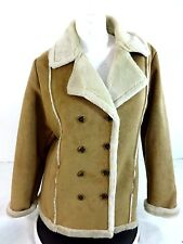 ROUTE 66 WOMENS CAMEL TAN FAUX LEATHER PILE LINED COAT JACKET SIZE M