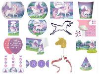 Unicorn Fantasy Birthday Party Cups Plates Napkins Invites Loot Bags Balloons