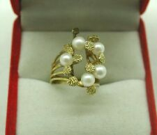 Unusual High Carat Gold And Pearl Ladies dress Ring Size I.1/2