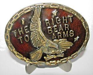 Vintage Right to Bear Arms Eagle Arrow Brass & Red Enamel Belt Buckle gun  NRA