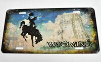 Ee.uu. Coche Matrícula Licencia Plate Decoración Chapa Wyoming Vaquero Old Style