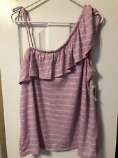 NWT Old Navy Women's One Shoulder Top, Lilac/White Stripe, Size XL