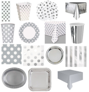 Silver Birthday Wedding Party Disposable Tableware Supplies Paper Plates Cups