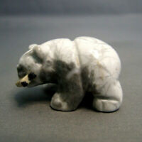 White Howlite Grizzly Bear with Fish Statue Carved Natural Gemstone Ornament 4cm
