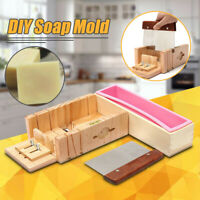 UK Wooden Handmade Loaf Soap Cake Mould Silicone Making Tools Slicer Cutter Tool