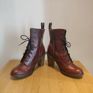 Dr Martens SADIE Dark Brown Leather Heeled Laced Zipper Boots UK 8 EU 42 * RARE