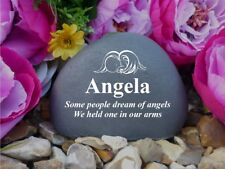 Pebble (Stone effect) - Personalised - Memorial - Weatherproof - Baby Angel