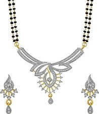 Gold Plated Mangalsutra Pendant With Chain Indian Traditional AD Necklace