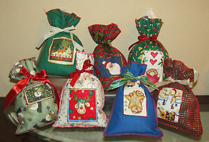 5 Small Christmas Fabric Gift Wrap Re-Usable Wrapping Bags  Great for Gift Cards
