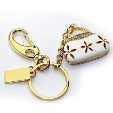 Chiavetta USB 4 GB BORSETTA A MANO BAG BORSA FIORE BIANCO ORO Accessori Ciondolo